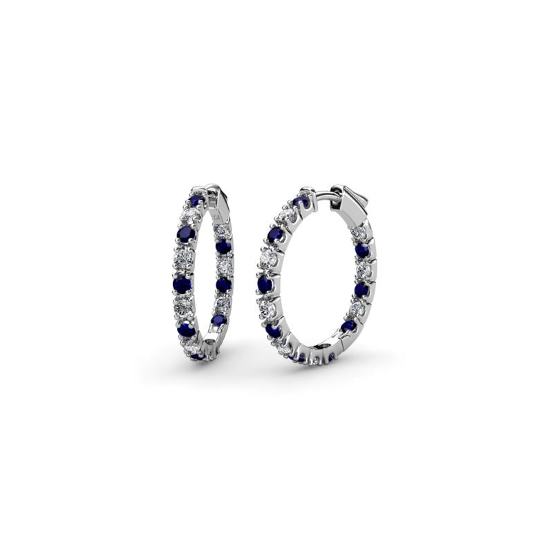 Blue Sapphire and Diamond SI2 I1 G H Inside Out Hoop Earrings