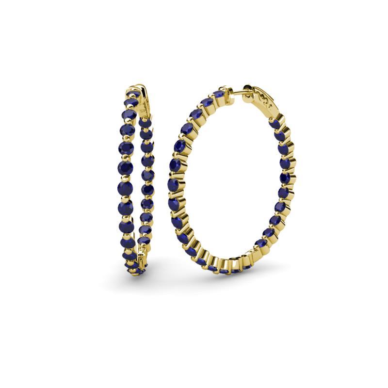 Blue Sapphire Inside-Out Hoop Earrings 2.46 ct tw in 14K Yellow ...
