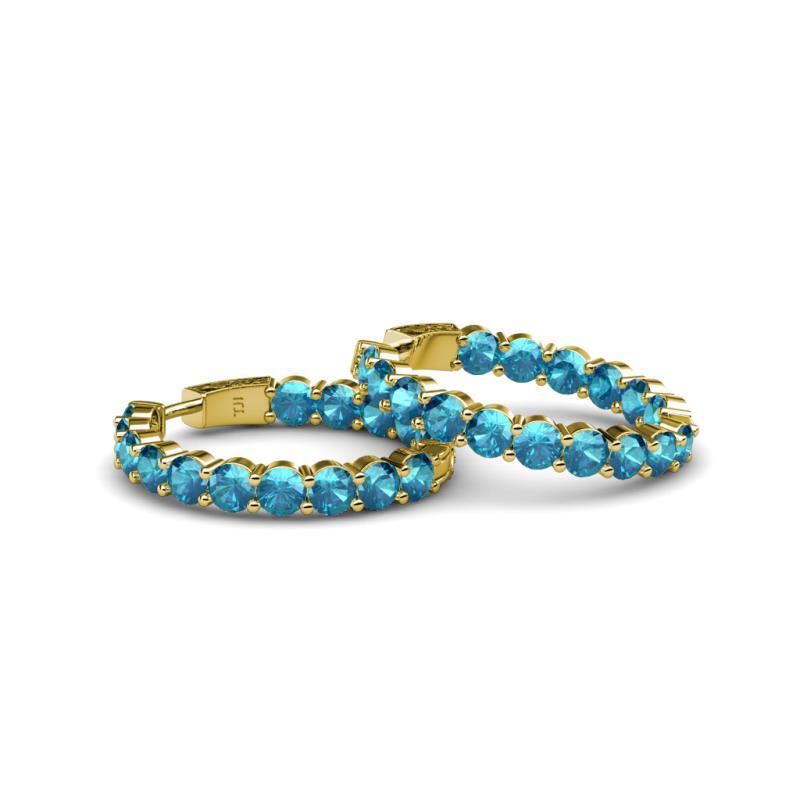 London Blue Topaz Inside Out Hoop Earrings 11 20 ct tw in 14K