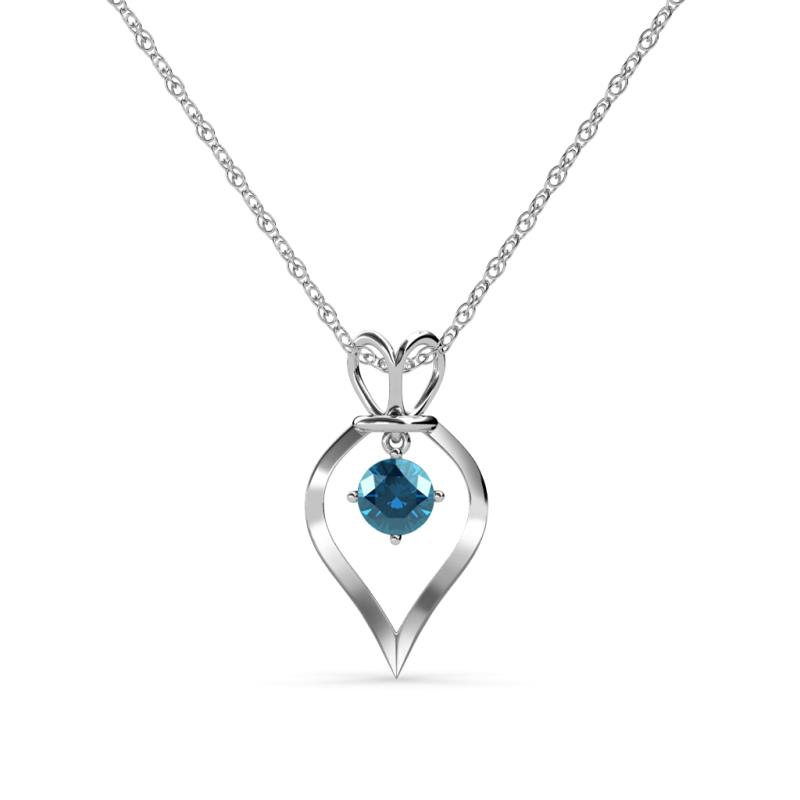 Blue diamond royal heart pendant 050 ct in 14k white goldcluded 537166 mozeypictures Image collections