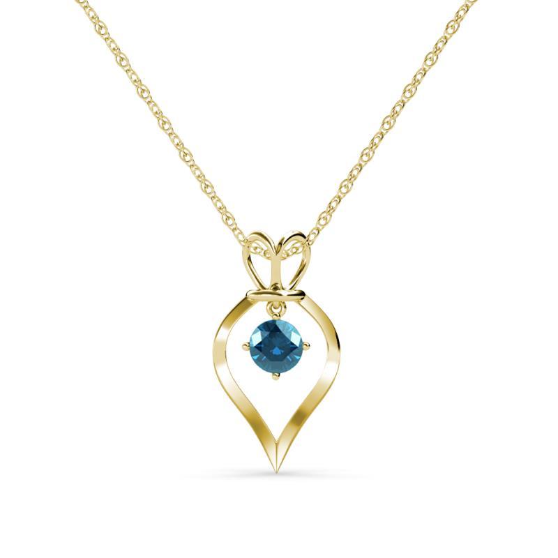 Blue diamond royal heart pendant necklace 050 ct 18k yellow gold 580313 aloadofball Image collections