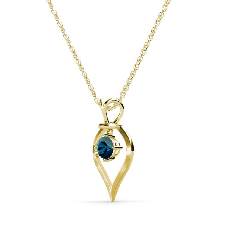 Blue diamond royal heart pendant 050 ct in 18k yellow goldcluded sallie mozeypictures Image collections