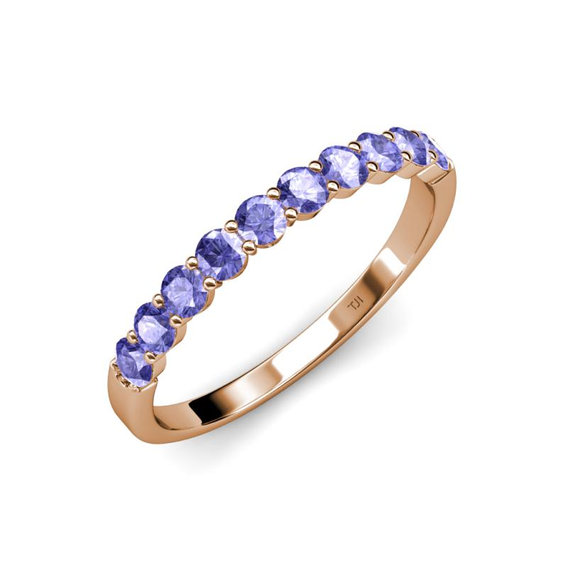 Tanzanite 10 Stone Wedding Band 090 ct tw in 14K Rose Gold TriJewels