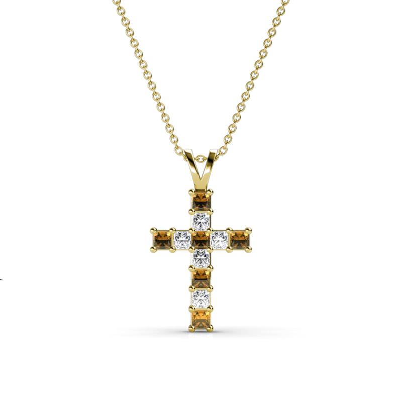 Citrine and diamond princess cut cross pendant 058 ct tw in 14k citrine and diamond cross pendant aloadofball Gallery