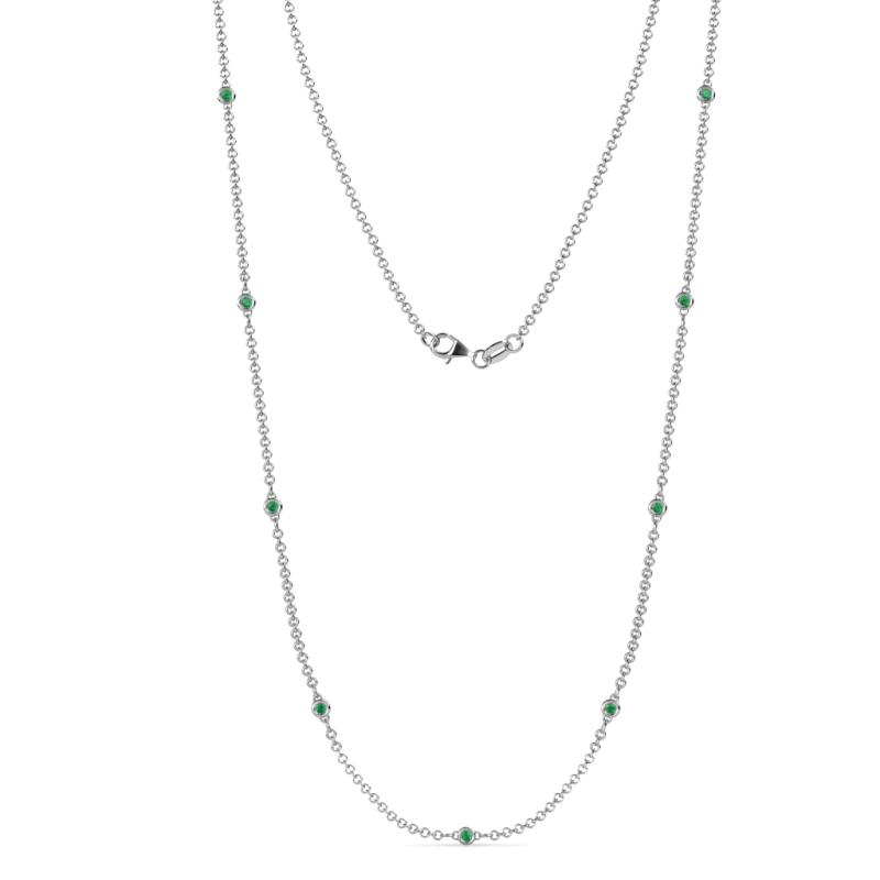 4c62489c983fa (9 Stn/2mm) Emerald on Cable Necklace