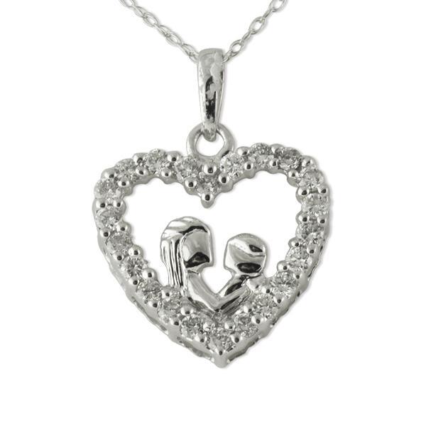 Diamond heart shape mother child pendant 050 ct tw in 14k white diamond mother child heart pendant aloadofball Images