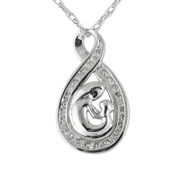 Natural white round diamonds 050cttw mother child pendant in 14k mother child pendant aloadofball Choice Image
