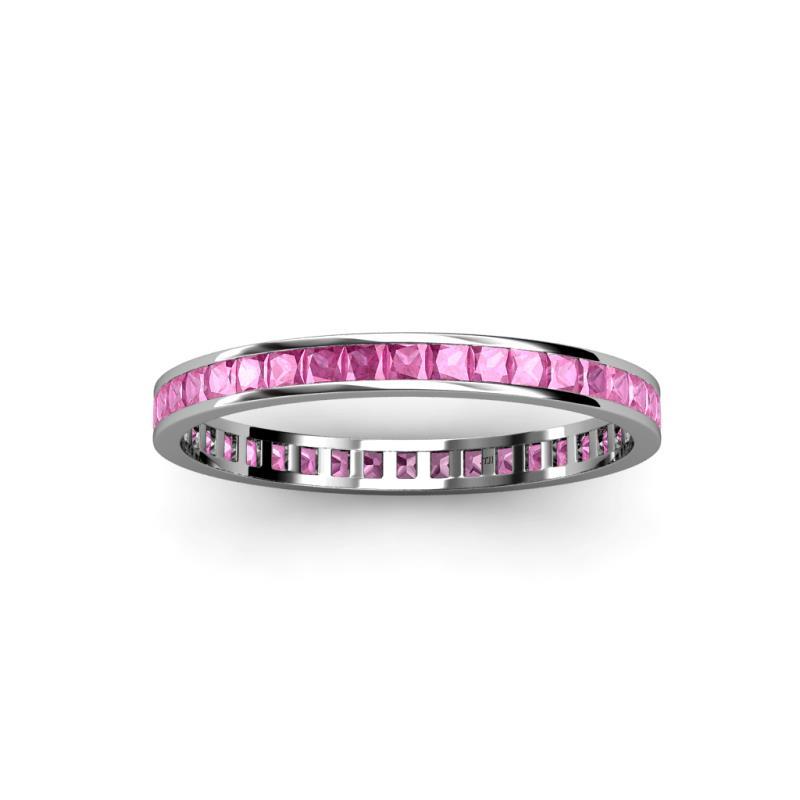 Princess Cut Pink Sapphire Channel Set Womens Eternity