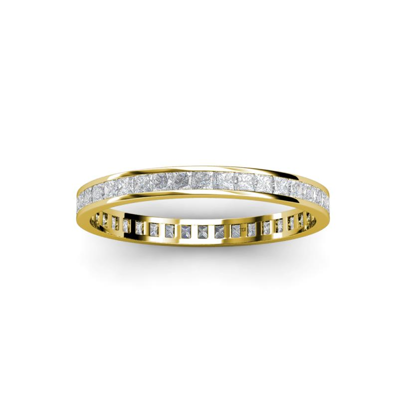 band white sapphire eternity handmade carat bands stackable gold pave yellow milgrain anniversary ring wedding