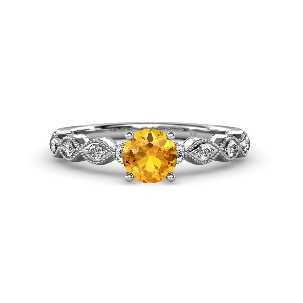 Citrine and Diamond Twisted Womens Engagement Ring with Milgrain Work 0.95 ctw 14K White Gold
