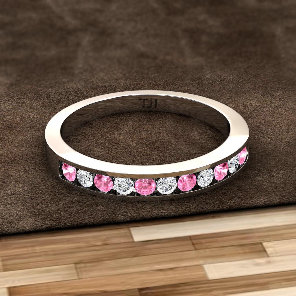 Ryann 200 Mm Pink Sapphire And Diamond Wedding Band