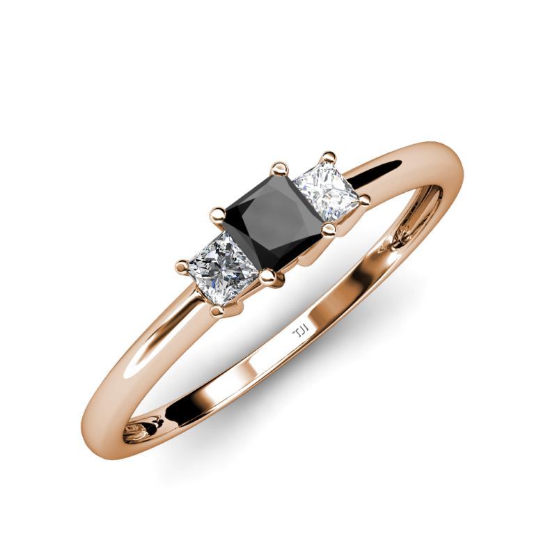 Black and White Diamond SI1 SI2 G H Princess Cut Three Stone