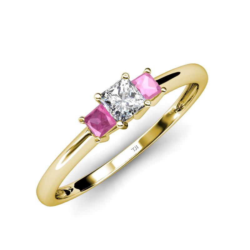 charming heart pink diamond cz silver products inlaid shaped ring rings engagement sterling evermarker set