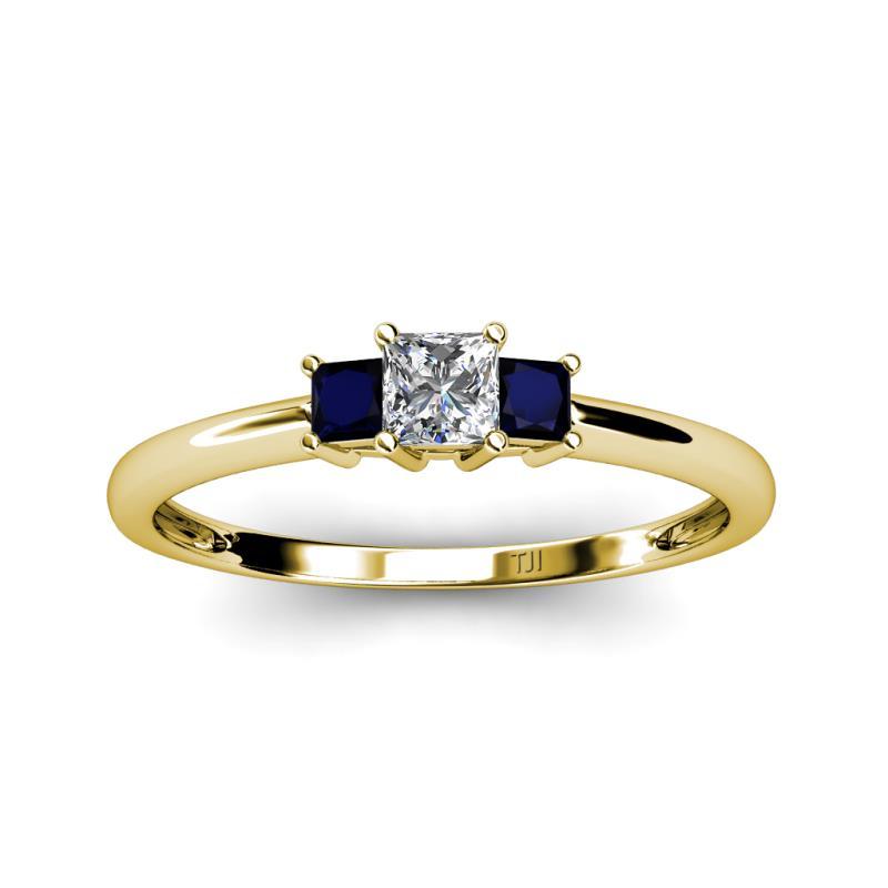 Diamond SI1 SI2 G H and Blue Sapphire Princess Cut Three Stone