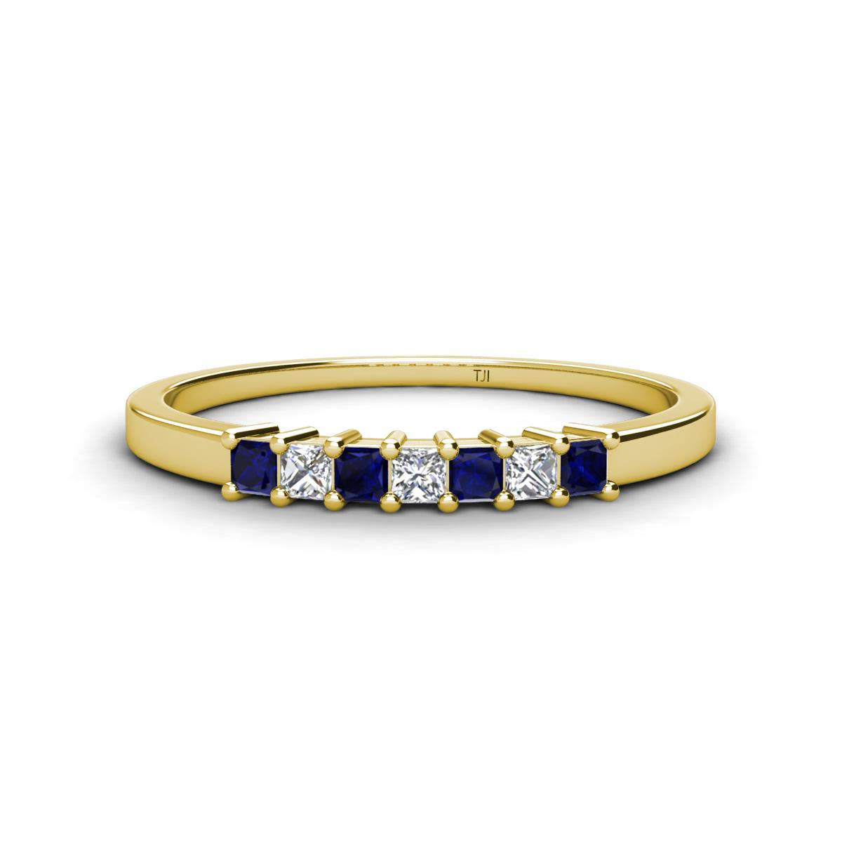 Blue Sapphire and Diamond SI1SI2 GH 7 Stone Wedding Band with
