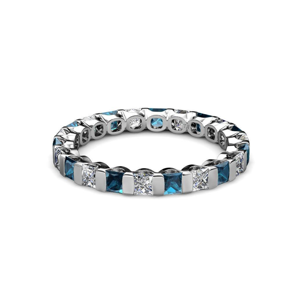 Princess Cut Blue And White Diamond Channel Set Womens