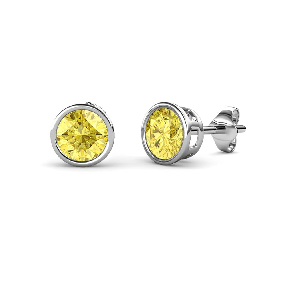 stud earrings pushbacks set with yellow diamond solitaire cut bijoux y o gold bezel majesty round in