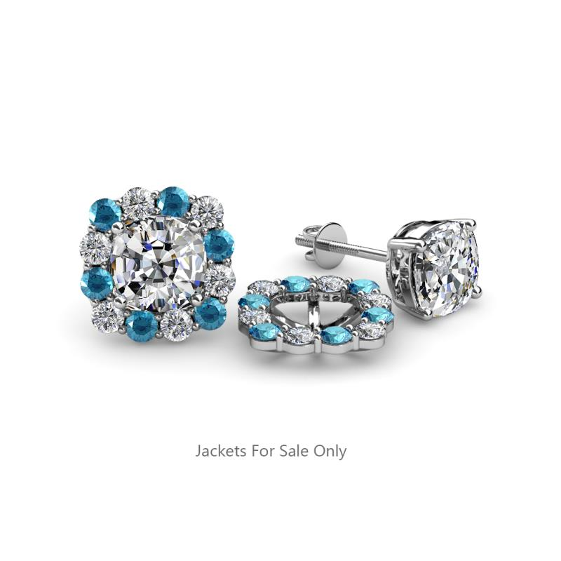 d73eced74a7f London Blue Topaz and Diamond Womens Halo Jacket for Cushion Cut Stud  Earrings 0.78 ctw 14K White Gold. More Details. Be the first to write a  review. 813971 ...