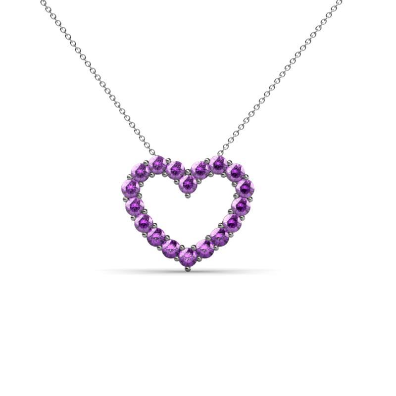 amethyst heart pendant necklace 054 ctw 14k white gold