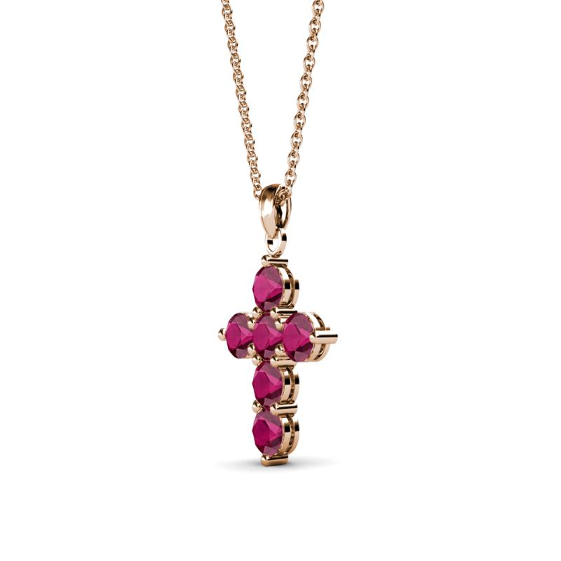 Ruby cross pendant 044 ct tw in 14k rose goldcluded 18 inches product image product image aloadofball Choice Image