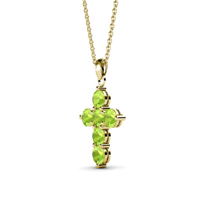Peridot cross pendant 069 ct tw in 14k yellow goldcluded 18 product image product image mozeypictures Image collections