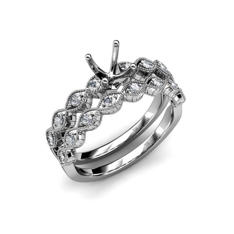 Diamond Four Prong Milgrain Work Swirl Bridal Set Comes