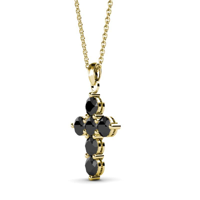 Black diamond womens cross pendant necklace 095 ctw 14k yellow gold black diamond cross pendant aloadofball Choice Image
