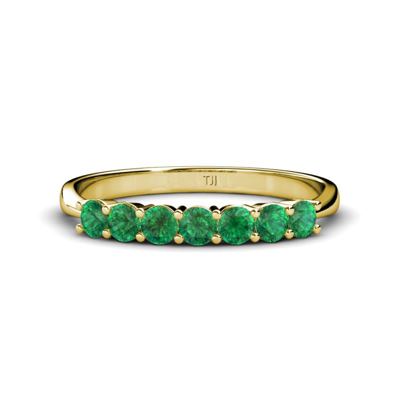 Emerald 7 Stone Wedding Band 056 cttw in 14K Yellow Gold TriJewels