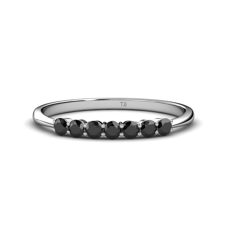 Black Diamond 7 Stone Womens Wedding Band Stackable 048 Ctw 18k