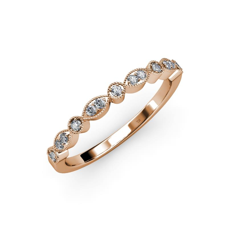Diamond Marquise And Dot Wedding Band SI2 I1 G H 013 Cttw In