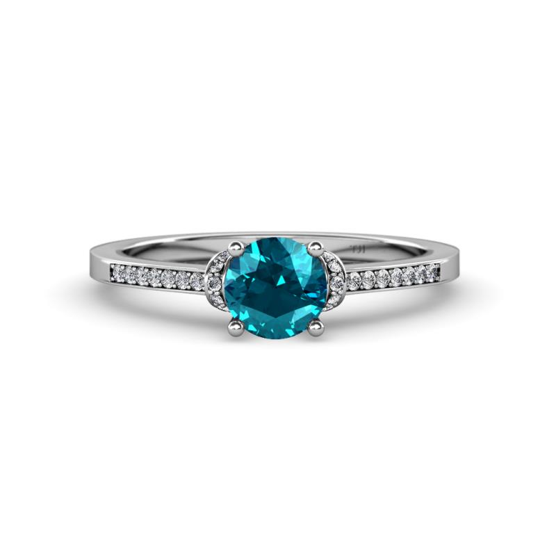 London Blue Topaz and Diamond SI2I1 GH Engagement Ring