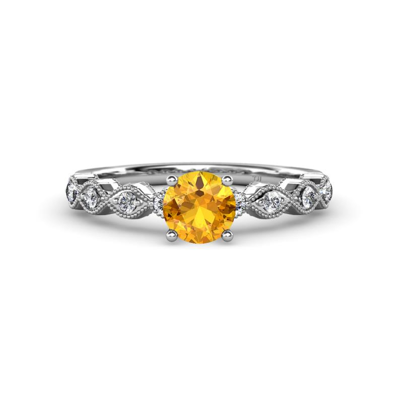 Citrine and Diamond SI2 I1 G H Marquise Shape Engagement Ring
