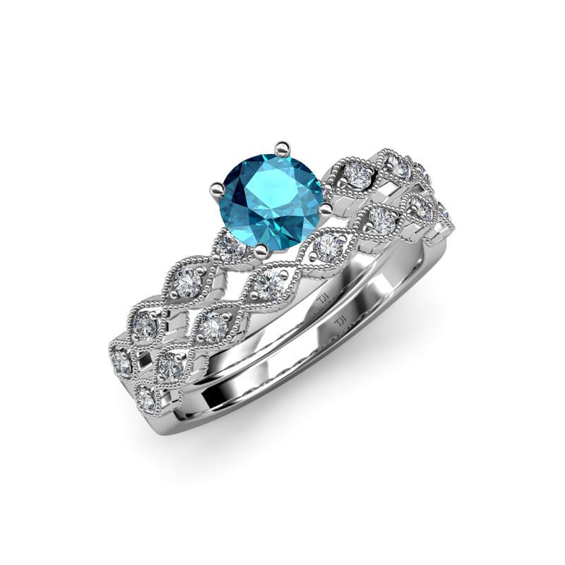 London Blue Topaz and Diamond SI2I1 GH Marquise Shape