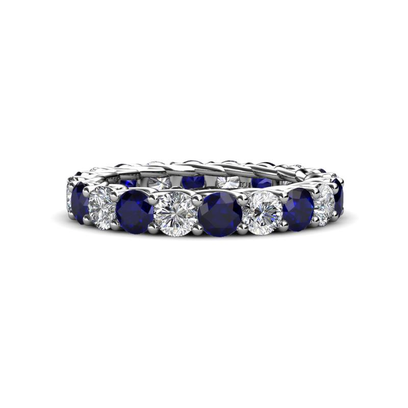 Lucida 3.80 mm Blue Sapphire and Diamond Eternity Band - Blue Sapphire and Diamond Gallery Womens Eternity Ring Stackable 4.1 ctw* 18K White Gold