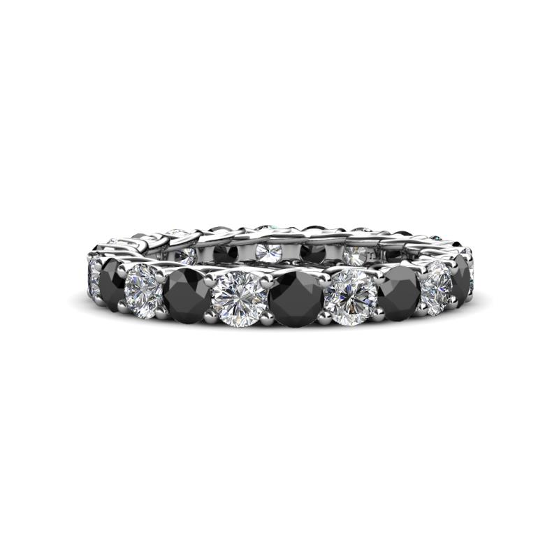 Lucida 3.40 mm Black and White Diamond Eternity Band - Black and White Diamond Gallery Womens Eternity Ring Stackable 3.25 ctw* 14K White Gold