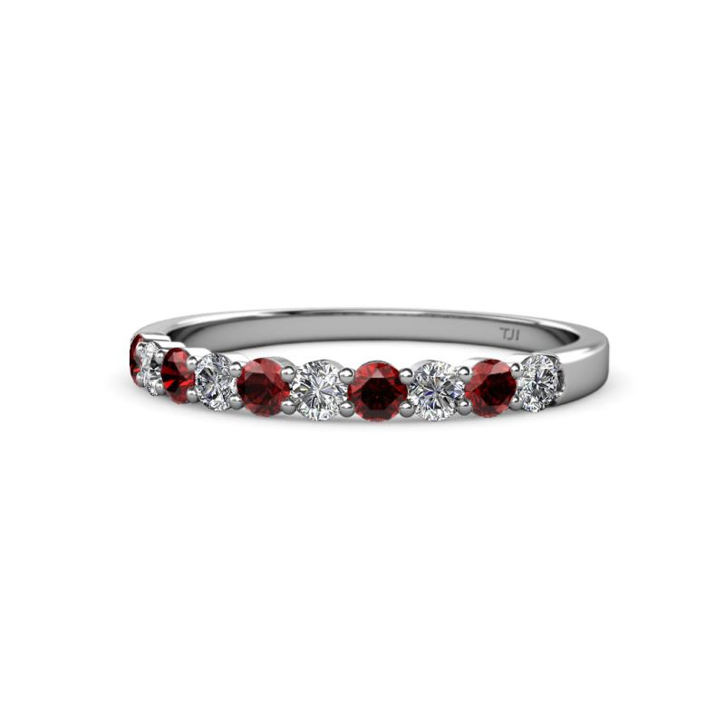 Clara 2.70 mm Red Garnet and Diamond Wedding Band - Red Garnet and Diamond (SI2-I1, G-H) 10 Stone Wedding Band 0.75 ct tw in 14K White Gold.