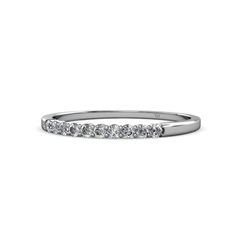 Clara 1.80 mm Diamond Wedding Band - Diamond 10 Stone Womens Wedding Band Stackable 0.25 ctw 14K White Gold