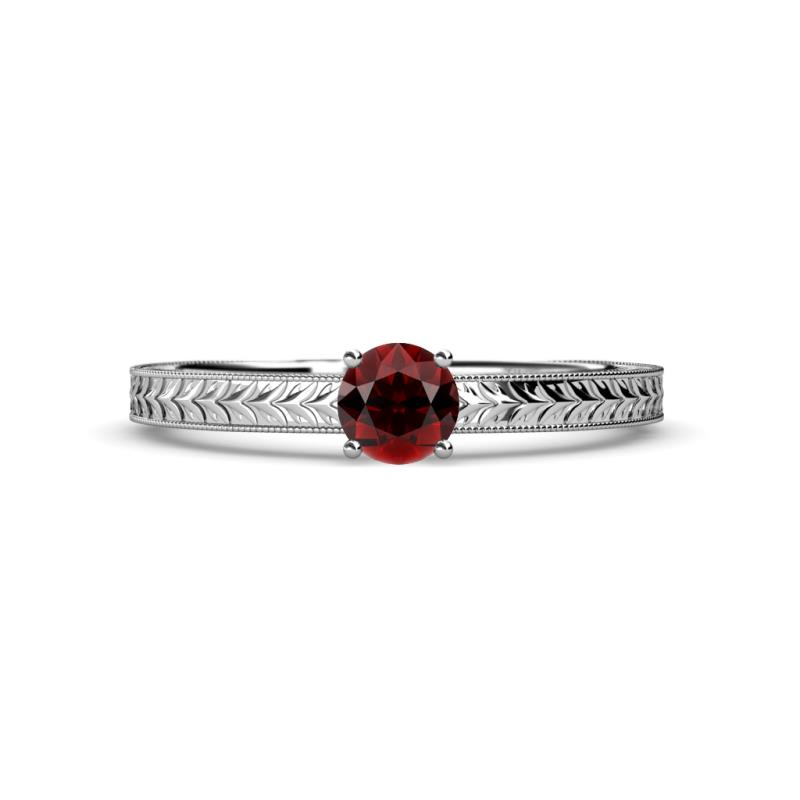 Red Garnet Solitaire Bridal Set Ring