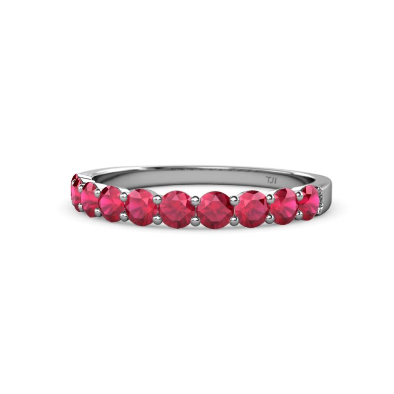 Clara 3.00 mm Ruby Wedding Band - Ruby 10 Stone Womens Wedding Band Stackable 1.05 ctw 14K White Gold