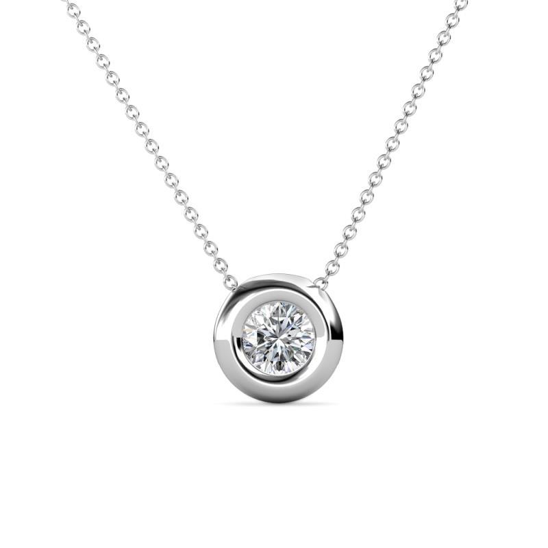 Arela Diamond Solitaire Pendant - Diamond Bezel Set Solitaire Pendant (SI2, G) 0.50 ct in 14K White Gold.Included 18 Inches 14K White Gold Chain.