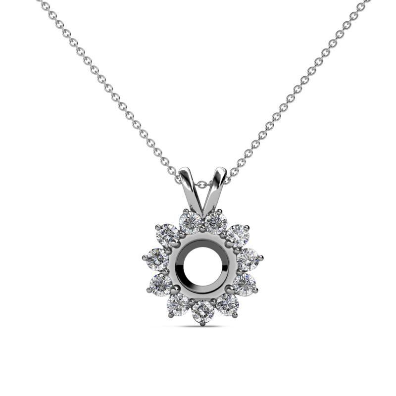 Megan Semi Mount Floral Halo Pendant - Diamond Semi Mount Floral Halo Pendant Necklace Setting 0.33 ctw 14K White Gold.Included 18 Inches 14K White Gold Chain