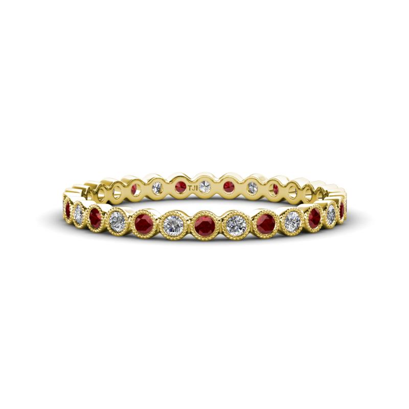 Arria 2.00 mm Red Garnet and Diamond Eternity Band - Red Garnet and Diamond Bezel Set Milgrain Womens Eternity Ring Stackable 0.6 ctw* 14K Yellow Gold