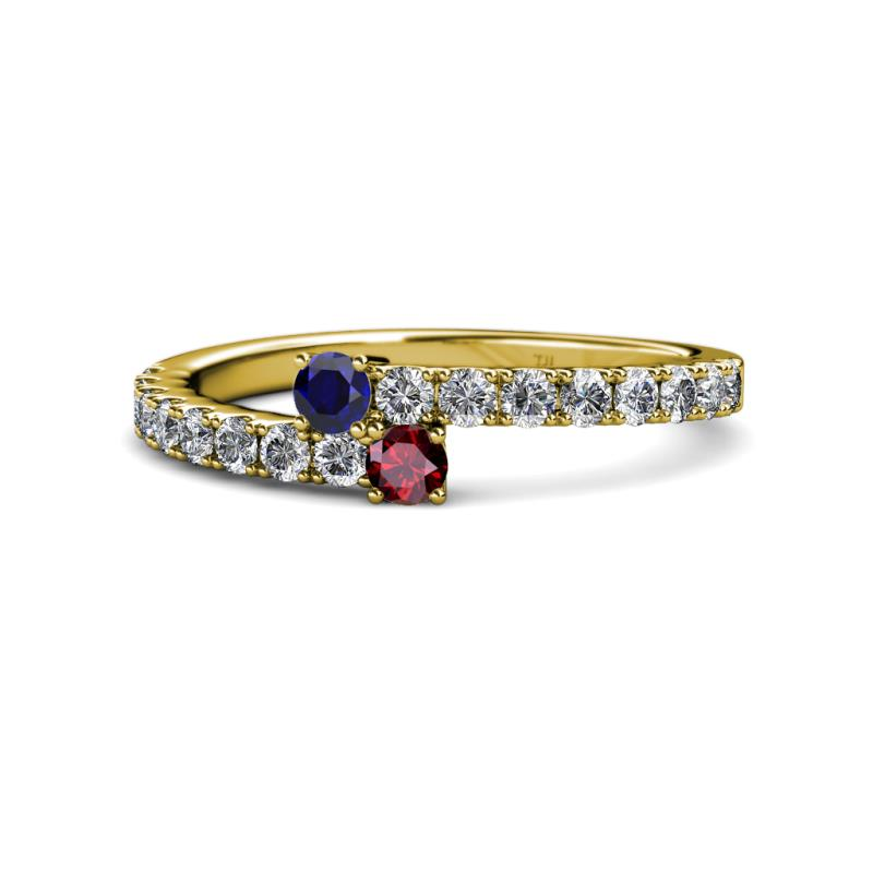 6dbf990bc9e16 Blue Sapphire and Ruby with Side Diamonds Bypass Ring