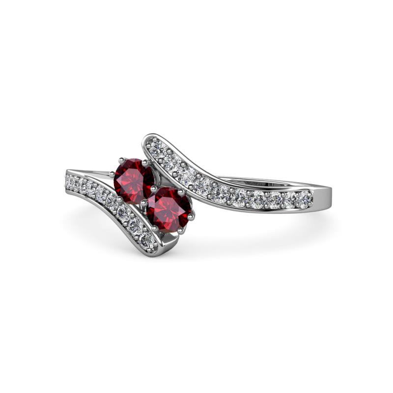 9d1c1f52096e0 Ruby with Side Diamonds Bypass Ring