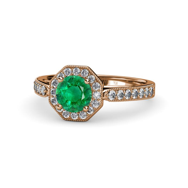Aura Emerald and Diamond Halo Engagement Ring - Emerald and Diamond Womens Halo Engagement Ring with Milgrain Work 1.00 ctw 14K Rose Gold