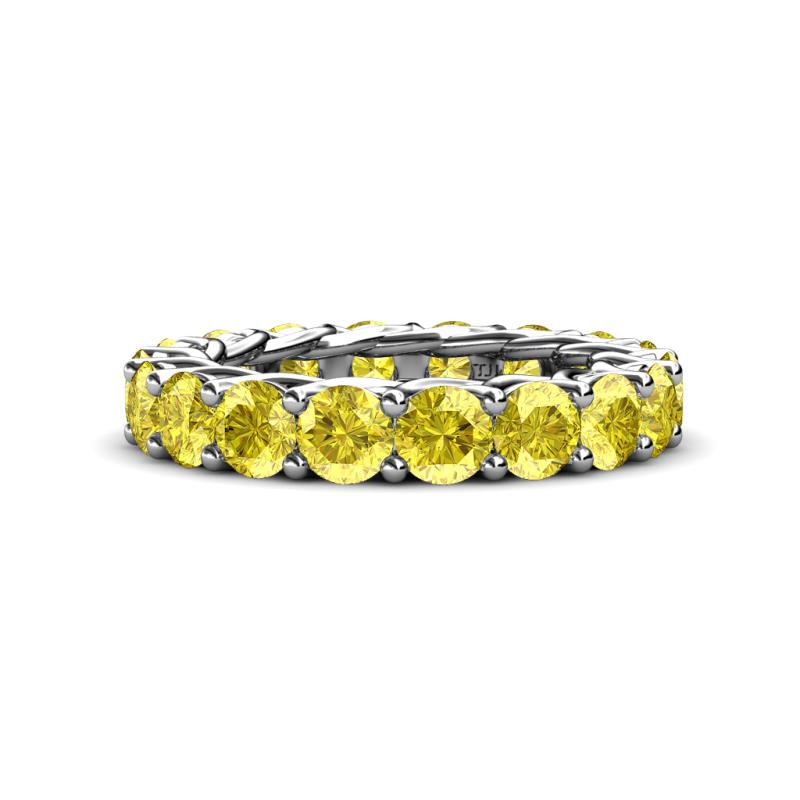 Lucida 4.20 mm Yellow Sapphire Eternity Band - Yellow Sapphire Gallery Womens Eternity Ring Stackable 5.36 ctw* 14K White Gold