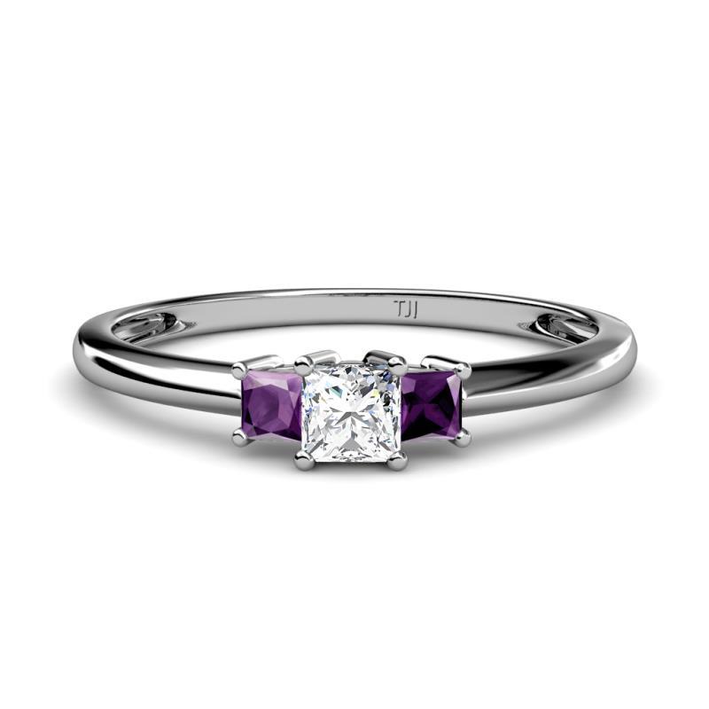 Certified 0.77 Ct Princess Cut Amethyst /& Diamond Engagement Ring 14k White Gold