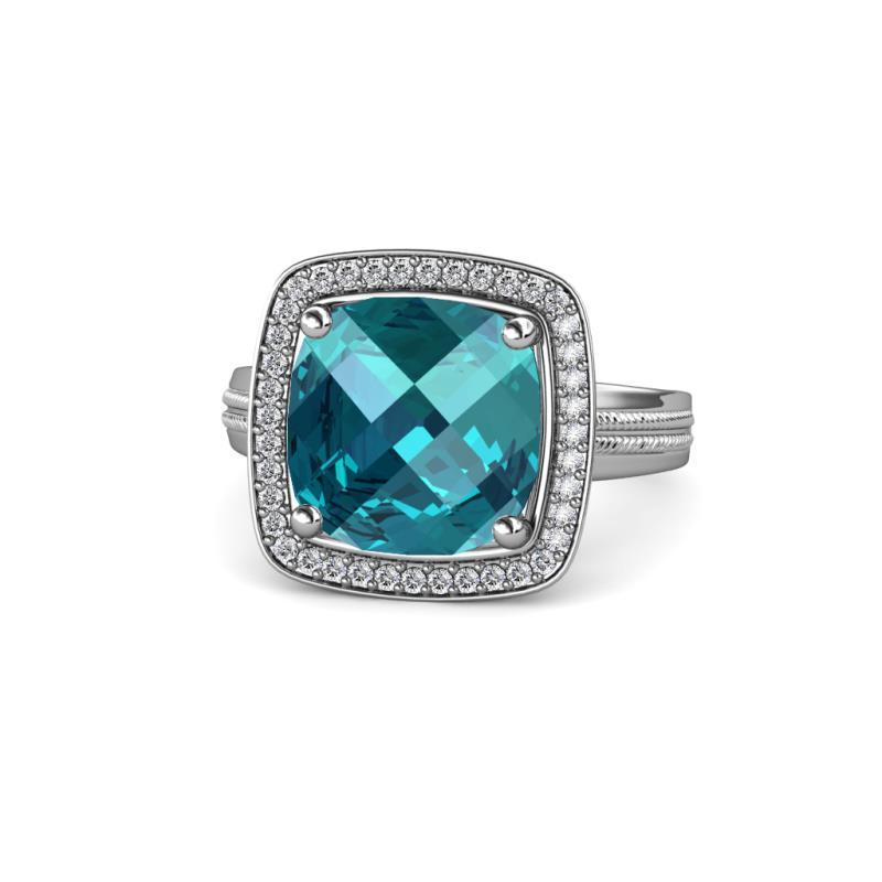 Cushion Cut London Blue Topaz And Diamond Halo Engagement Ring