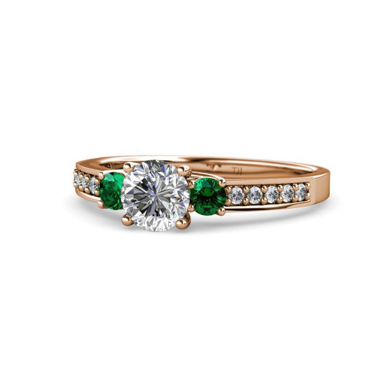 Diamond And Emerald Womens Three Stone Engagement Ring 1 45 Ctw 14k Rose Gold Trijewels