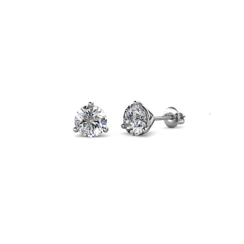 258f49233 Diamond Three Prong Martini Womens Solitaire Stud Earrings 1.00 ctw ...